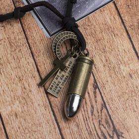 """Мужской кулон """"Резон"""" пуля, цвет чернёное золото с чернёным серебром на корич шн, 80 см"""