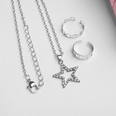 "A set of children's ""Vibracula"" 3 PR: pendant 40 cm, 2 rings, star, color white silver"