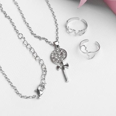 "A set of children's ""Vibracula"" 3 PR: pendant 40 cm, 2 rings, Lollipop, white color in silver"