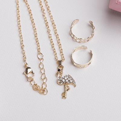 "A set of children's ""Vibracula"" 3 PR: pendant 40 cm, 2 rings, flamingos, white gold"