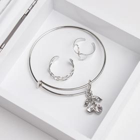 """Набор детский """"Выбражулька"""" 3 предмета: браслет, 2 кольца, вишенки, цвет белый в серебре"""
