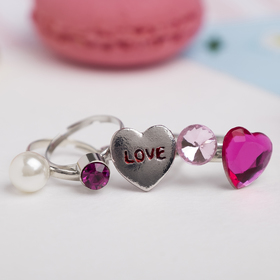 """A set of baby rings """"Vibracula"""" love form MIX, color pink"""