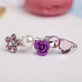 """A set of baby rings """"Vibracula"""" bloom shape MIX, the color pink"""
