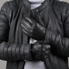 Перчатки мужские, размер 11, длина 24 см, подклад шерсть, цвет чёрный