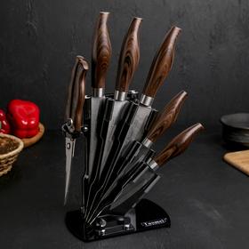 Набор «Друид», 6 предметов: 5 ножей: 20/24/33/32,5/30 см, ножницы 23 см, на подставке, цвет МИКС