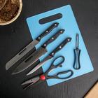 Набор 6 предметов: 3 ножа:28/23/27 см, овощечистка 14 см, ножницы 21 см, доска