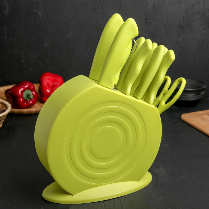 Набор ножей 8 предметов: на подставке 2×19,5/14,5/12,5/4×11,5 см, ножеточка, ножницы, цвет зелёный