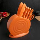Набор кухонных принадлежностей на подставке, 8 ножей, ножеточка, ножницы, цвет оранжевый - фото 180076