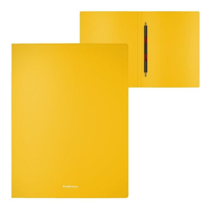 Папка-скоросшиватель с пружинным механизмом А4, Erich Krause Classic, жёлтая