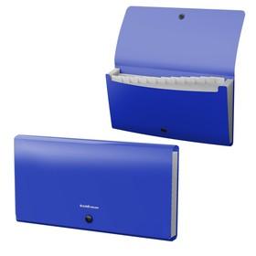 Папка-картотека на кнопке, синяя, 12 отделов, пластиковая, ErichKrause Matt Classic Check size
