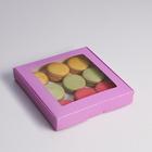Коробка самосборная, с окном, сиреневая, 19 х 19 х 3 см