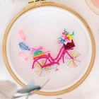 Вышивка на пяльцах «Розовый велосипед». Набор для творчества - фото 694235