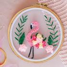 Вышивка на пяльцах «Розовый фламинго». Набор для творчества - фото 694239
