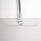 Швабра плоская, ручка нержавейка, широкая х/б насадка 55×13×129 см - фото 1635754