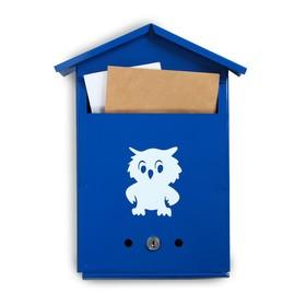 Ящик почтовый с замком, вертикальный, «Домик», синий