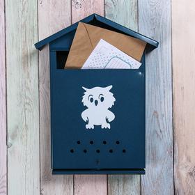 Ящик почтовый с щеколдой, вертикальный «Домик», синий