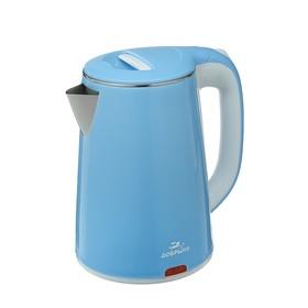 "Чайник электрический ""Добрыня"" DO-1235B, 2200 Вт, 2.3 л, металл, голубой"