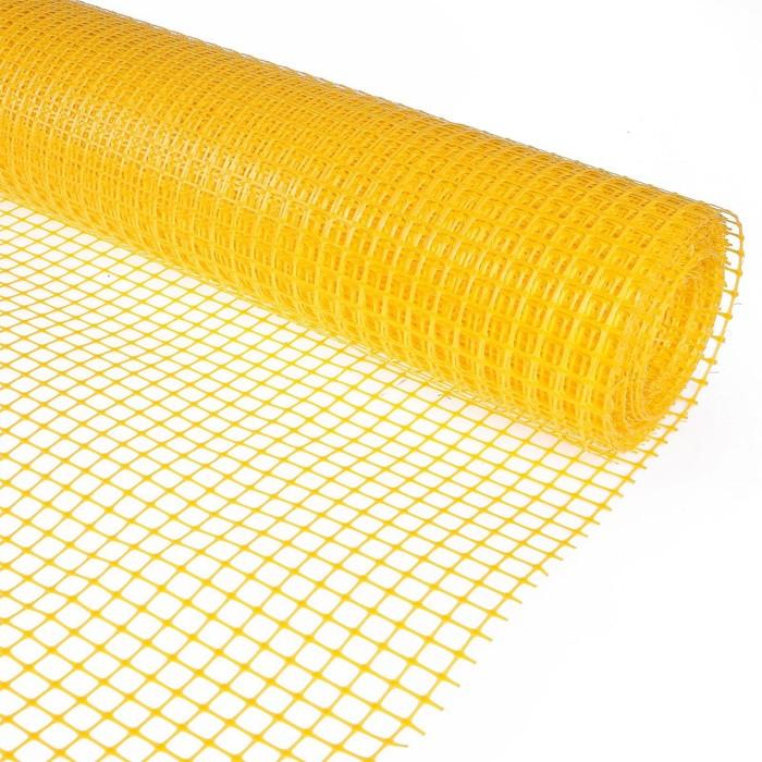Сетка садовая, 1 х 20 м, ячейка квадрат 20 х 20 мм, жёлтая