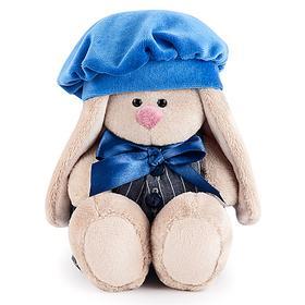 Мягкая игрушка «Зайка Ми» в сером комбинезоне с синим беретом, 15 см