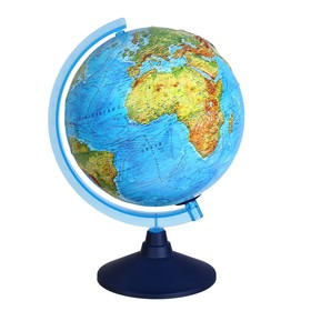 Интерактивный глобус физико-политический рельефный, диаметр 250 мм, с подсветкой от батареек, с очками