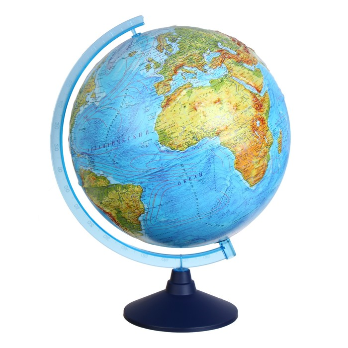 Интерактивный глобус физико-политический рельефный, диаметр 320 мм, с подсветкой от батареек
