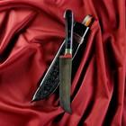 Нож Пчак Шархон - средний, граб черный, ёрма, гарда олово гравировка. У8 (15 - 16 см)