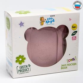 """Набор детской посуды """"Bear"""" миска с крышкой, ложка и вилка, цвет розовый"""