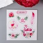 """Чипборд для скрапбукинга """"Розовый фламинго в цветах"""" 10х10 см"""