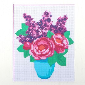 "Canvas for cross stitch ""Vase with flowers"", 25*20 cm"