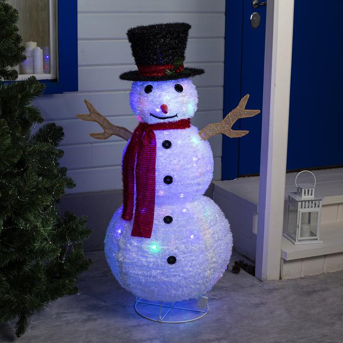"""Фигура текстиль """"Снеговик"""" 120х50х50 см, 100 LED, 220V, контр. 8 режимов"""