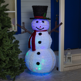 """Фигура текстиль """"Снеговик"""" 150х80х80 см, 100 LED, 220V, контр. 8 режимов, МУЛЬТИ"""