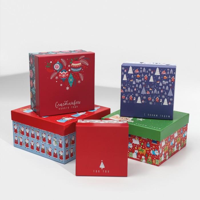 Набор подарочных коробок 5 в 1 «Радости и счастья», 14 × 14 × 8‒22 × 22 × 12 см