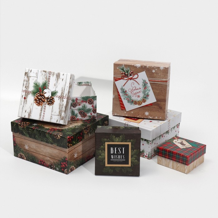 Набор подарочных коробок 6 в 1 «Деревянный», 10 х 10 х 6 - 20 х 20 х 11 см