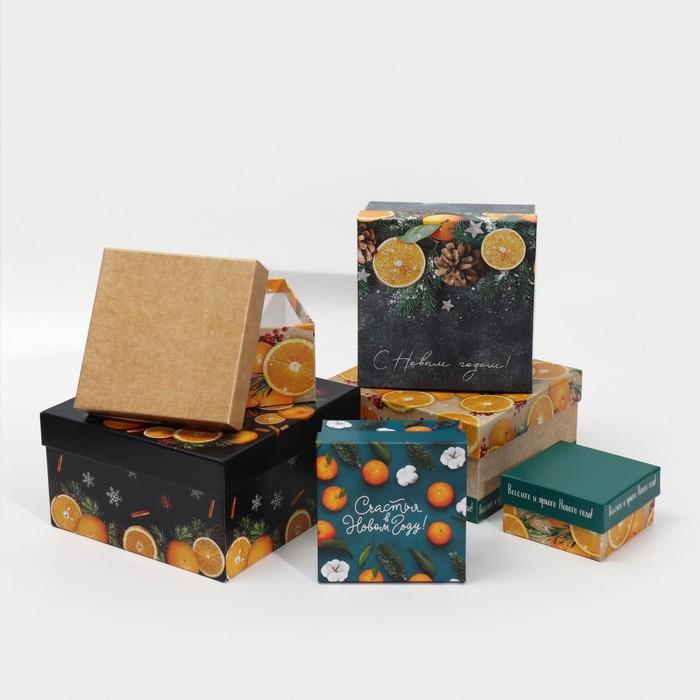 Набор подарочных коробок 6 в 1 «Мандариновый», 10 х 10 х 6 - 20 х 20 х 11 см
