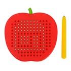 Магнитный планшет яблоко маленькое, 142 отверстий, цвет красный - фото 1039492