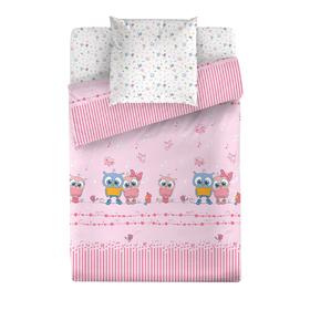 КПБ «Мелодия», размер 100 х 138 см, 112 х 147 см, 40 х 60 см, цвет розовый