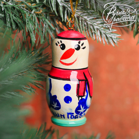 """Christmas tree toy """"Snowman in a pink hat"""""""