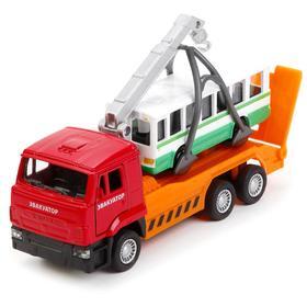 Машина металлическая «Камаз Эвакуатор + автобус» 12 см, 7,5 см