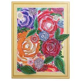 Алмазная картина с фигурными стразами «Винтажные цветы» 40×50см