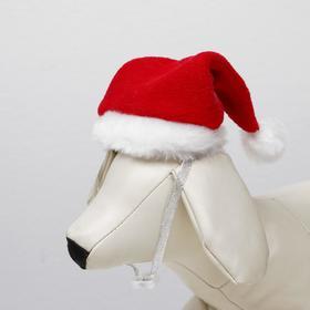Колпак новогодний для собак, размер S-M, высота 15 см, обхват головы 25 см Ош
