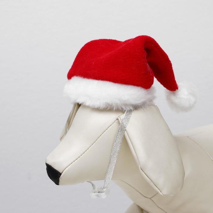 Колпак новогодний для собак, размер S-M, высота 15 см, обхват головы 25 см