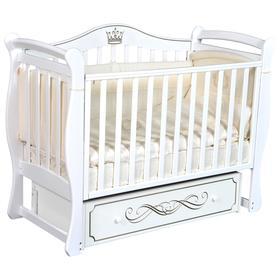 Детская кровать Bella-1, автостенка, ящик, универсальный маятник, цвет белый