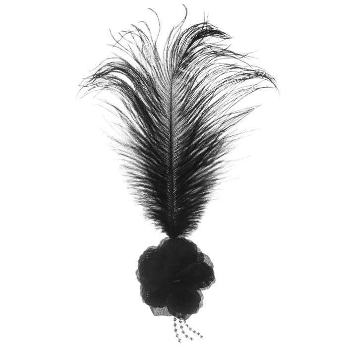 Карнавальный зажим «Цветок», с пером