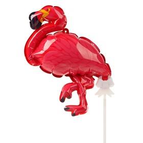 "Шар-самодув 9"" «Розовый фламинго», с палочкой, топпер"
