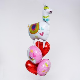"""A bouquet of balloons """"Lama with hearts"""" set of 5pcs"""