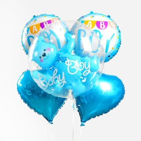 "A bouquet of balloons ""Cheers, boy. Bear in a ball"", set of 5pcs"