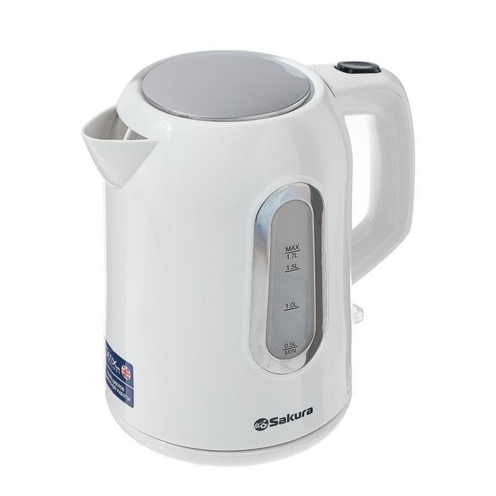 Чайник электрический Sakura SA-2332W, 2200 Вт, 1.7 л, пластик, белый