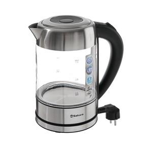 Чайник электрический Sakura SA-2720SBK, 2200 Вт, 1.7 л, стекло, серебристый