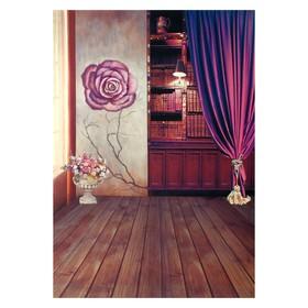 """Фотофон винил """"Книжный шкаф и роза"""" стена+пол 210х150 см"""