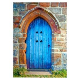 """Фотофон винил """"Голубая дверь"""" 210х150 см"""